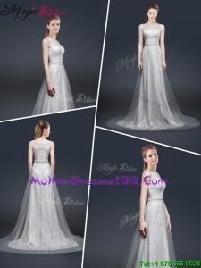 Elegant Empire Bateau Mother Dresses with Brush Train