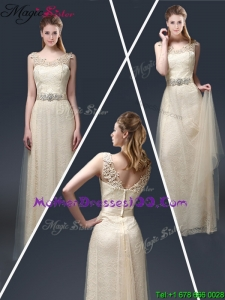 Empire Lace Mother Dresses with Appliques in Champagne