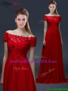 Simple Off the Shoulder Short Sleeves Red Mother Dresses with Appliques