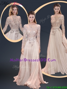 Cheap Brush Train Champagne Mother Dresses with Beading