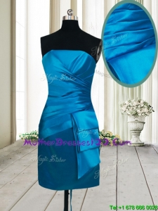 2017 Beautiful Column Satin Strapless Teal Mother of the Bride Dress in Mini Length