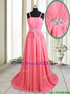 2017 Cheap Straps Brush Train Beaded Chiffon Mother of the Bride Dress in Watermelon Red