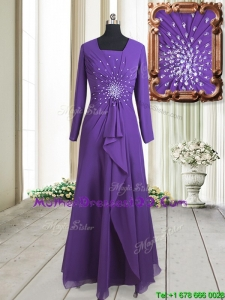 2017 Elegant Square Long Sleeves Beaded Zipper Up Purple Mother of the Bride Dress in Floor Length