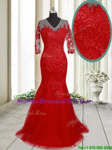 2017 Lovely Mermaid V Neck Brush Train Laced Red Mother of the Bride Dress with Half Sleeves