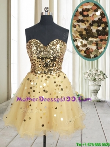 Best Selling Sequined Bodice Zipper Up Organza Mother of the Bride Dress in Champagne