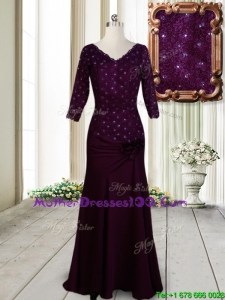 Classical V Neck Beaded and Laced Dark Purple Mother of the Bride Dress with Half Sleeves