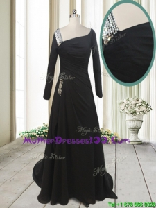 Fashionable Asymmetrical Neck Brush Train Black Mother of the Bride Dress with Long Sleeves