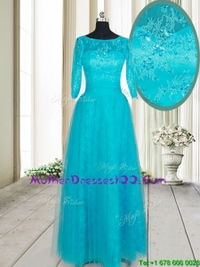 Hot Sale See Through Scoop Applique and Beaded Long Mother of the Bride Dress with Half Sleeves
