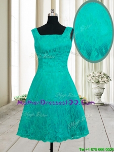 Latest A Line Square Zipper Up Turquoise Short Mother of the Bride Dress in Lace