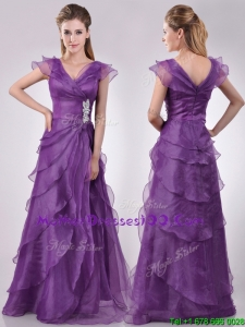 Low Price V Neck Eggplant Purple Mother Dress with Beading and Ruffles