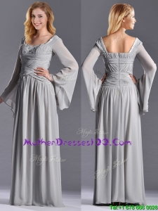 2016 Classical Square Beaded and Ruched Mother Dress with Long Sleeves