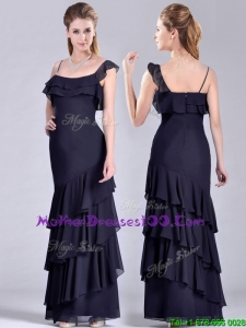 Best Selling Asymmetrical Ankle Length Elegant Mother of The Bride Dress with Ruffled Layers