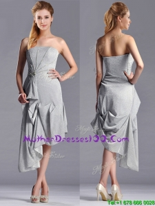 Discount Side Zipper Strapless Silver Sexy Mother of The Bride Dress in Asymmetrical