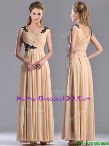 Latest Cap Sleeves Champagne Sexy Mother of The Bride Dress with Black Appliques