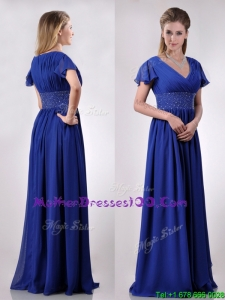 Low Price V Neck Beaded Blue Long Sexy Mother of The Bride Dress with Short Sleeves