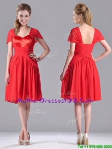 New Arrivals Empire Short Sleeves Chiffon Sexy Mother of The Bride Dress in Red