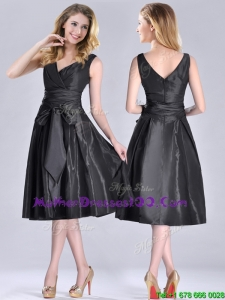 Popular Empire Black Tea Length Sexy Mother of The Bride Dress with Ruching and Bowknot