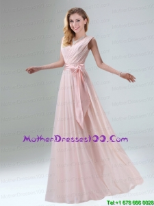 Fashionable Belt Ruching Chiffon 2015 Mother of the Bride Dresses with Bowknot
