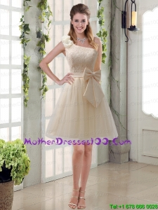 2015 Beautiful One Shoulder Bowknot Lace Mother of the Bride Dresses in Champagne