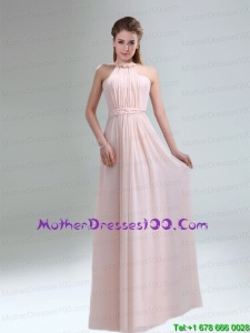 Beautiful 2015 High Neck Chiffon Light Pink Mother of the Bride Dresses