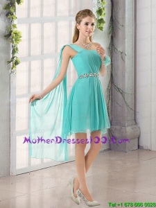 One Shoulder A Line Beading and Ruching Beautiful Mother of the Bride Dresses with Lace Up