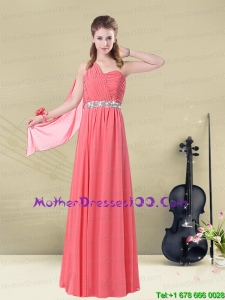 One Shoulder Long Beautiful Mother of the Bride Dresses with Ruches and Beading