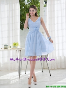 V Neck Chiffon 2015 Mother of the Bride Dresses with Ruching and Hand Made Flowers