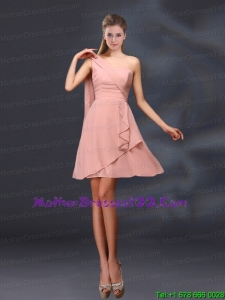 2015 Beautiful One Shoulder Ruching Chiffon Mother of the Bride Dresses in Peach