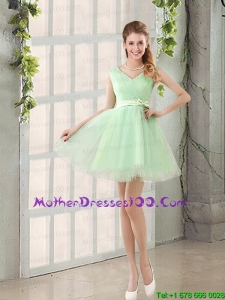 2015 Beautiful Organza A Line Belt Mother of the Bride Dresses