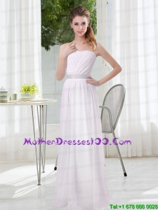 2015 Simple Empire Ruching Beautiful Mother of the Bride Dresses in White