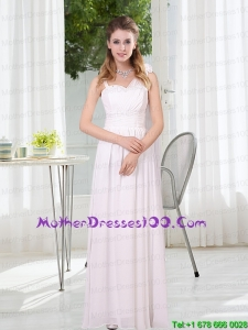 2015 White Empire Ruching Beautiful Mother of the Bride Dresses with Asymmetrical