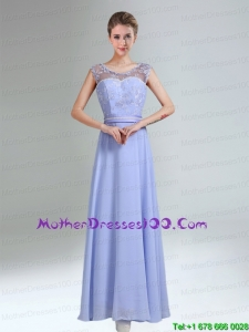 Beautiful Lavender Scoop Belt and Lace Empire 2015 Mother of the Bride Dresses