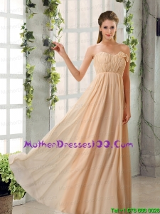 Beautiful V Neck Ruching Chiffon Mother of the Bride Dresses with Cap Sleeves