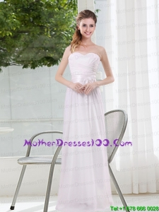 Ruching and Belt Sweetheart Empire White Beautiful Mother of the Bride Dresses