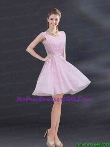 V Neck Beading 2015 Beautiful Mother of the Bride Dresses with Ruching