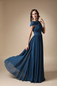 Empire Long Navy Blue Mother of Groom Dresses with Asymmetrical Neck