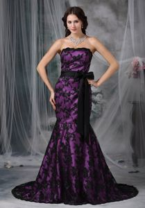 Mermaid Brush Train Black and Purple Lace Mother of Groom Dresses