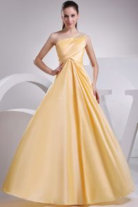 A-line One Shoulder Ruched Beaded Yellow Mother Bride Dress