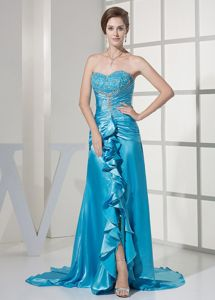 Brush Train Beaded Ruffled Teal Mother of the Bride Dresses