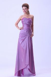 Popular Lace-up Ruched Lavender Long Mother of Bride Dresses