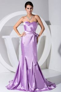 Court Train Mermaid Lavender Mother of Bride Dress with Sash