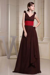Plus Size Chiffon A-line V-neck Brown Long Mother Bride Dress