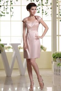 Mini-length Beaded Baby Pink Mother of Groom Dress with Spaghetti Straps