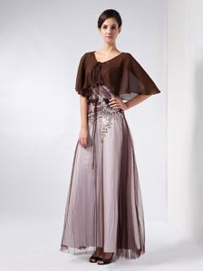 Appliqued Brown and White Long Mother Bride Dress with Cape