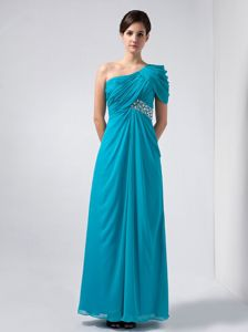 Ruched One Shoulder Teal Mother of Bride Dress with Rhinestones
