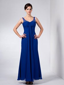 Column Ankle-length Blue Mother Bride Dress with Beaded Straps
