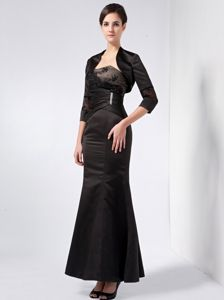 Trumpet Strapless Ankle-length Black Mother of the Bride Dress