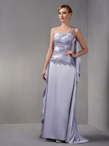 Brush Train One Shoulder Appliqued Lilac Mother of Bride Outfits