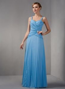 Straps Beaded Pleated Long Baby Blue Mother of Groom Dress