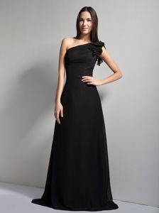 Simple One Shoulder Black Long Mother of Groom Dresses